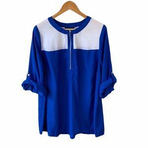 Lane Bryant Colorblock Fold Up Sleeves Shirt Sz 18